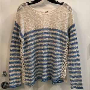 Cotton Knit Sweater with Crochet Sides